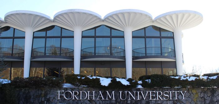 Fordham Westchester campus with Forham letters