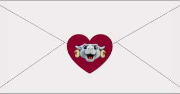 A graphic of an envelope with a heart and the Ramses mascot in the center.