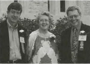 "Margaret ""Peg"" Peil, center, along with two fellow alumni of Lawrence University in Appleton, Wisconsin in 1998. Photo courtesy of Lawrence Today."