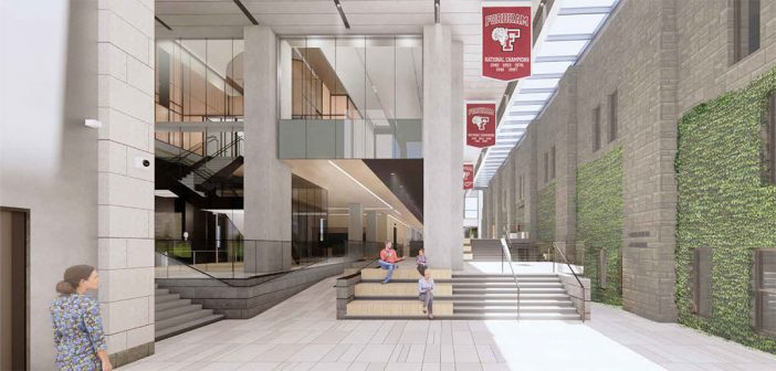 Rendering of the new campus center arcade