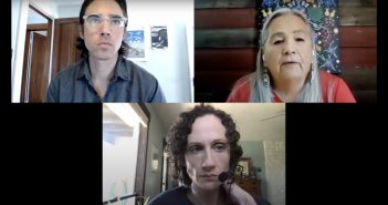 A screenshot of a Zoom webinar, featuring two women and one man on three separate tiles