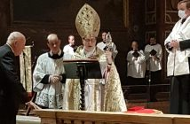William Loschert, GABELLI '61, being knighted by Archbishop Claudio Gugerotti.