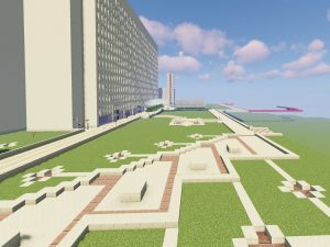 A digital campus made of green, beige, and auburn blocks below a blue sky with realistic clouds