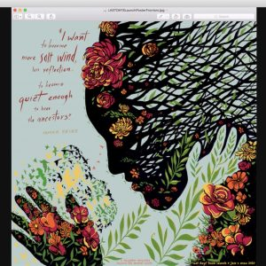 A silhouetted woman made of tree branches holding flowers