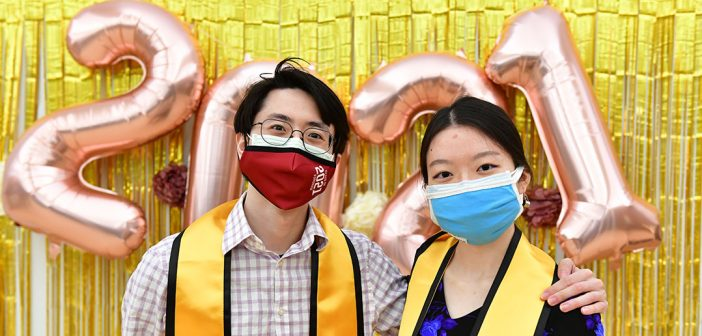 Students with yellow stoles at AAPI graduation celebration