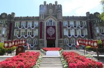 Commencement Stage with flowers outddors