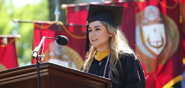 Student speaker--woman-- at podium