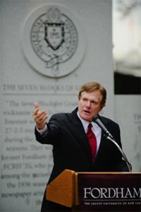 Joe Moglia, FCRH '71, at Rose Hill in 2008 for the dedication of the Seven Blocks of Granite monument in front of Coffey Field, which he helped make possible. Photo by Ryan Brenizer