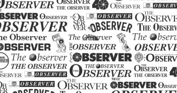 A collage of Observer nameplates over the past 40 years.