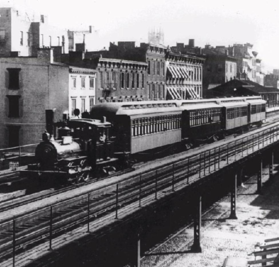 Steam-powered train in Manhattan, circa 1890