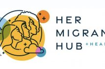 """A cartoon of the outlines of three women facing right next to the words """"Her Migrant Hub"""""""