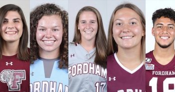 A collage of five athletes wearing Fordham sports shirts and smiling directly at the camera