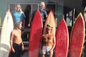 Bob Mignogna, bottom middle, with friends on Oahu's North Shore in 1973.