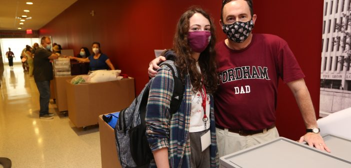 Father and daughter on move-in day