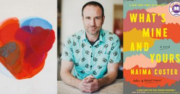 """A composite image showing a """"Blends"""" painting by Farida Hughes; Drew Ackerman, host of the podcast """"Sleep with Me""""; and the cover of the book """"What's Mine and Yours"""" by Naima Coster"""