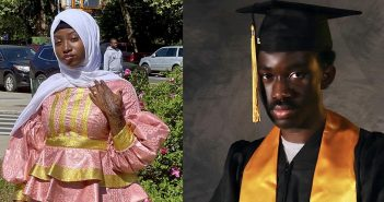 A photo collage of a woman wearing a white hijab and pink dress and a man wearing a black graduation gown and cap with a golden stole