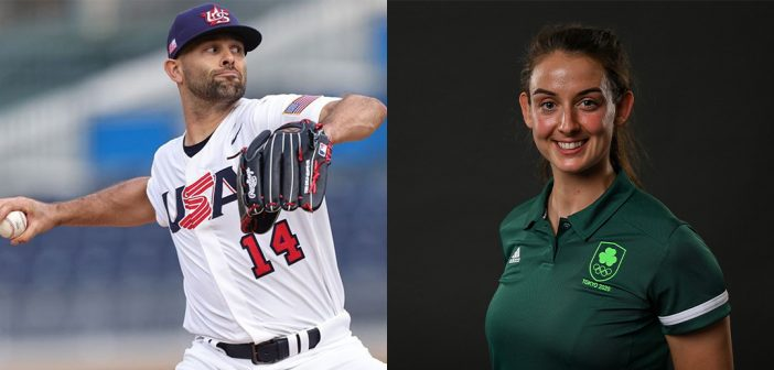 Nick Martinez, pitching, and Fiona Murtagh in a posed photo.