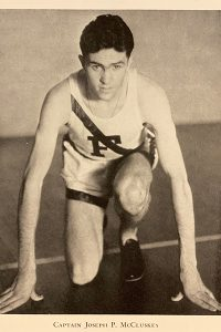 A photo of Joe McCluskey in starting position.