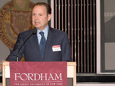 Armando Nuñez speaking at a Fordham presidential reception at CBS Studio Center in Los Angeles on January 14, 2014. Photo by Jeff Boxer