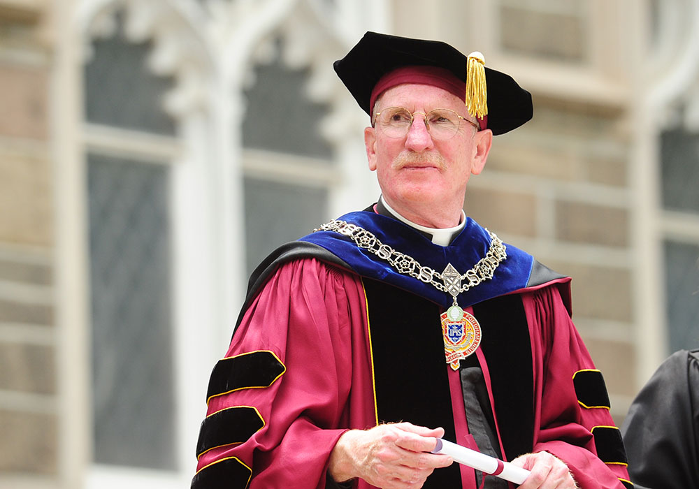 Father McShane at the University's 170th Commencement, on May 16, 2015. Photo by Chris Taggart