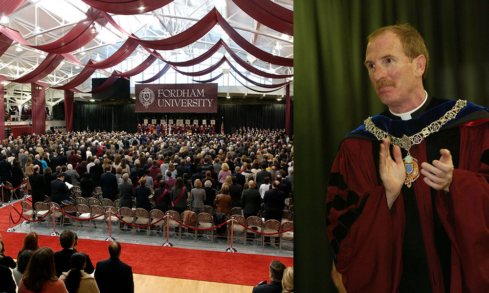 """More than 1,700 civic and religious leaders and members of the Fordham community filled the Rose Hill Gymnasium on October 24, 2003, to celebrate the installation of Father McShane as president. """"We gather today not to celebrate a person. Far from it,"""" he said. """"We gather in solemn convocation to celebrate Fordham: its history, its accomplishments, its most treasured traditions, its heroic figures, and its prospects for the future."""" Photos by Jon Roemer and Bruce Gilbert"""
