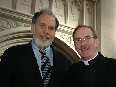 John Sexton with Father McShane in Duane Library prior to the 2005 commencement ceremony, where Sexton received an honorary degree. Photo by Peter Freed