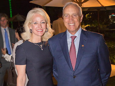Darlene Luccio Jordan and her husband, Gerald R. Jordan Jr., at a 2018 Fordham presidential reception in Palm Beach, Florida. Photo by Capeheart Photography
