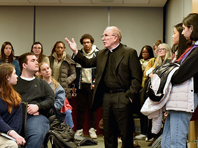 Father McShane speaks after Janaya Khan, a co-founder of Black Lives Matter Toronto, delivers the Dr. Martin Luther King Jr. lecture at Fordham on January 23, 2020. Photo by Dana Maxson