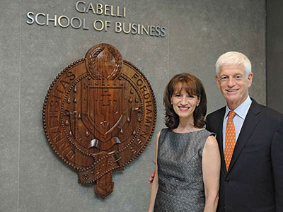 Regina Pitaro and Mario J. Gabelli in Hughes Hall, home of the Gabelli School of Business at Rose Hill. Photo by Chris Taggart