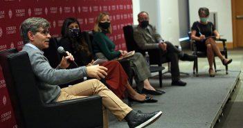 George Stephanopoulos, Roshni Nedungadi, Kristen Soltis Anderson; Robert Talisse, and Monika McDermott seated on a stage