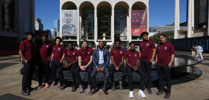 Fordham's Basketball team visits the Metropolitian Opera House, Sept. 24, 2021 Photo by Bruce Gilbert