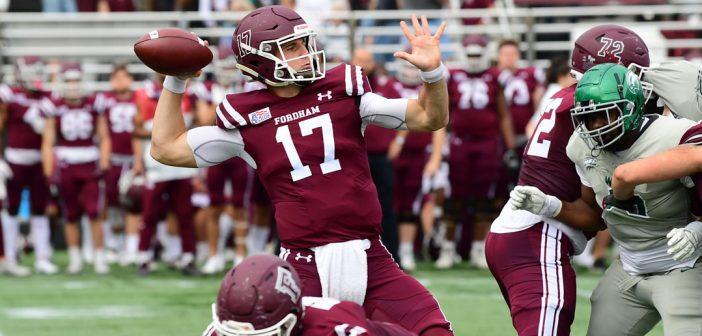 A quarterback throws the ball